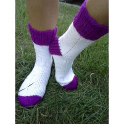 Ponožky fialovo bílá