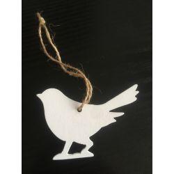 Pták dřevo závěs bílá