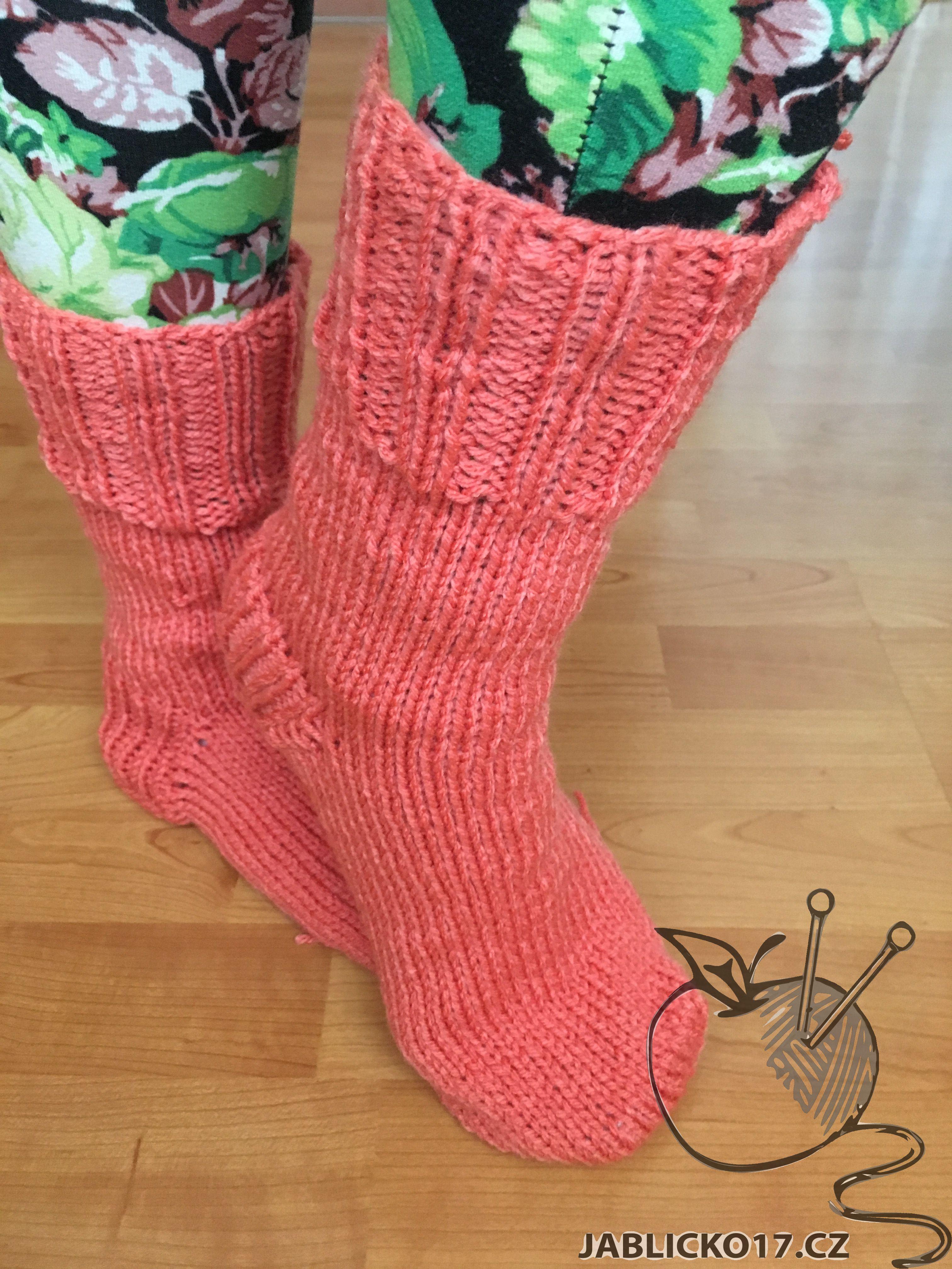 Ponožky pletené oranžová
