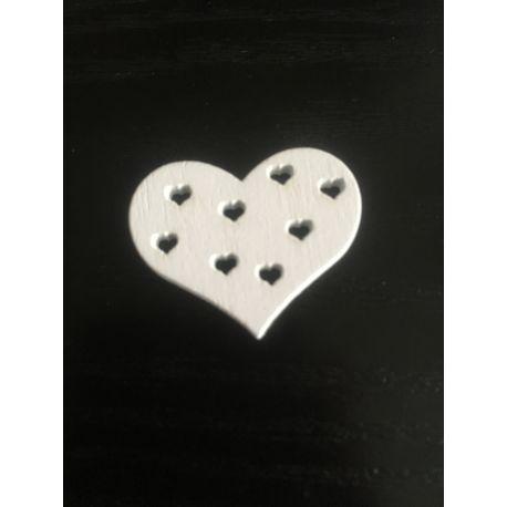 Srdce dřevěné bílá
