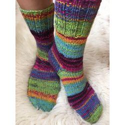Ponožky samovzorovací zelená, fialová, oranžová, růžová, modrá